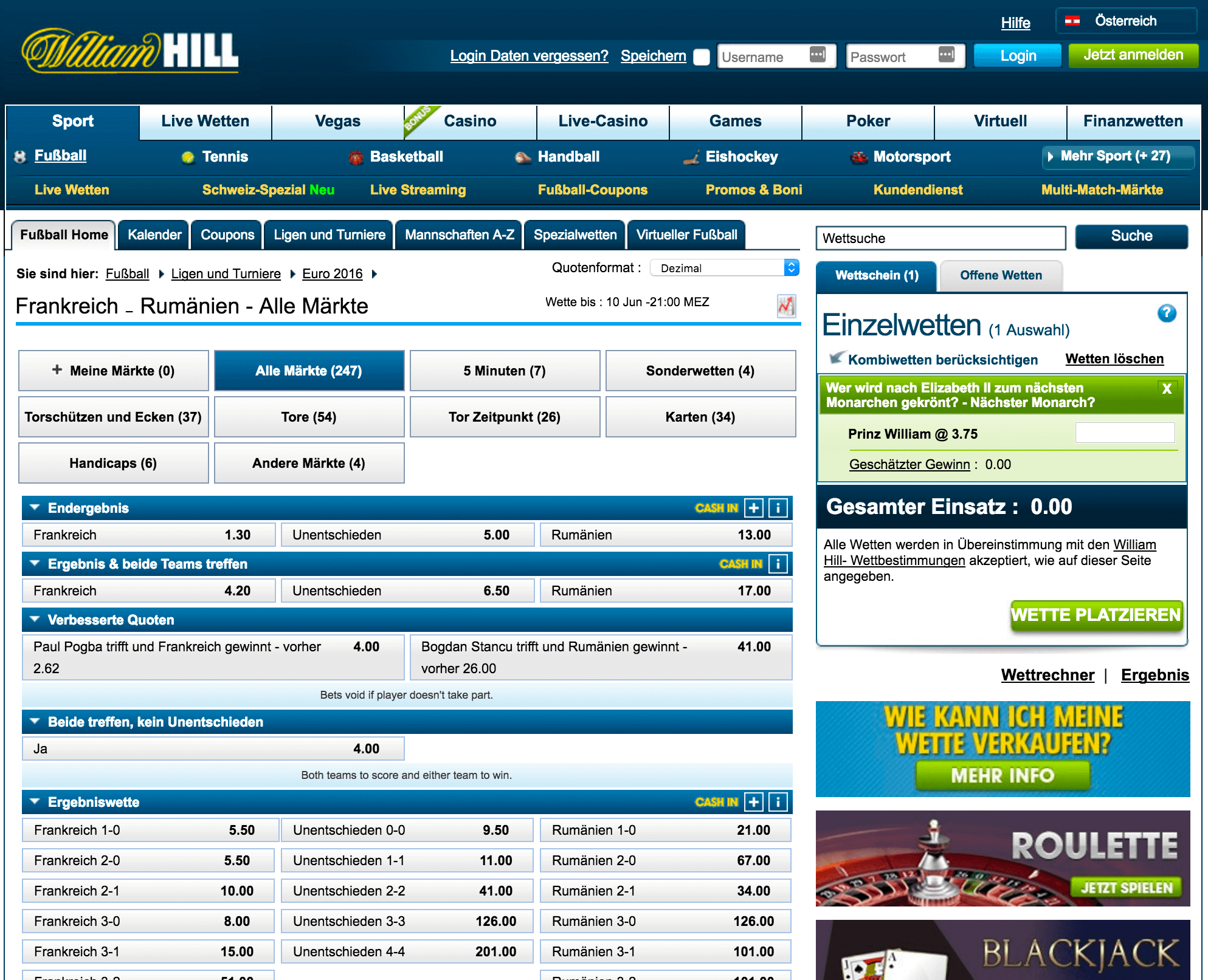 william hill sonderweten