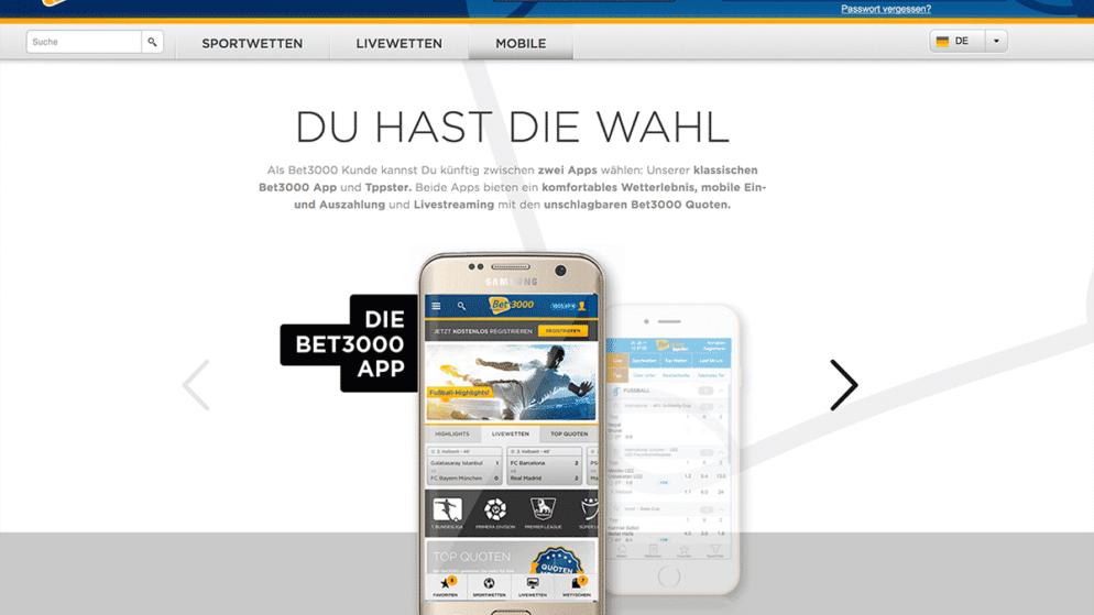 Bet3000 App für iPhone und Android