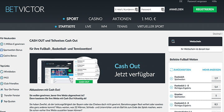 Betvictor Cash-out Wetten