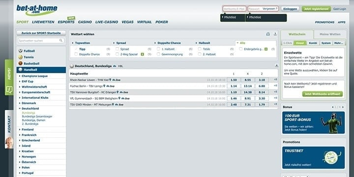 Bet at Home Handball Wetten