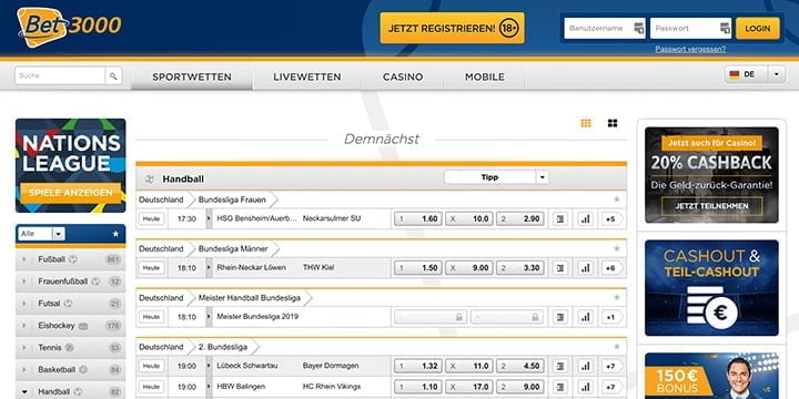 Bet3000 Handball Wetten