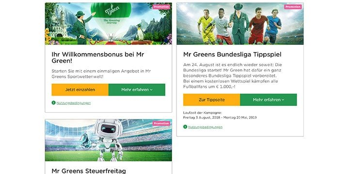 Mr. Green Sportwetten Aktionen
