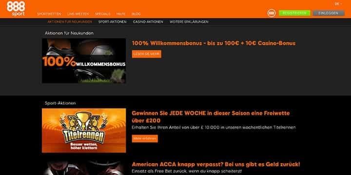888Sport Sportwetten Aktionen