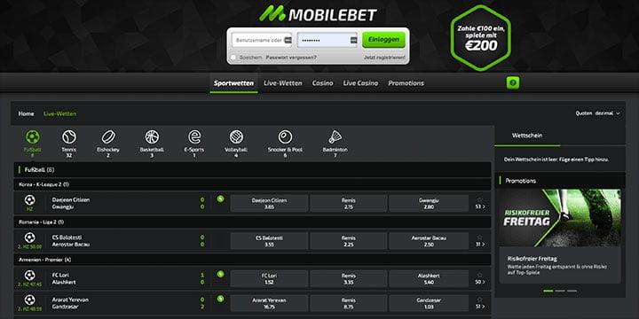 Mobilebet Live Wetten
