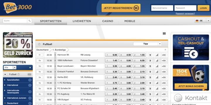 Bet3000 Bundesliga Wetten