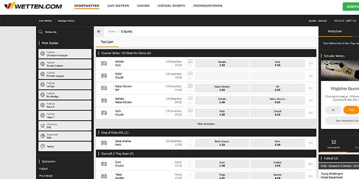 Wetten.com eSports Wetten