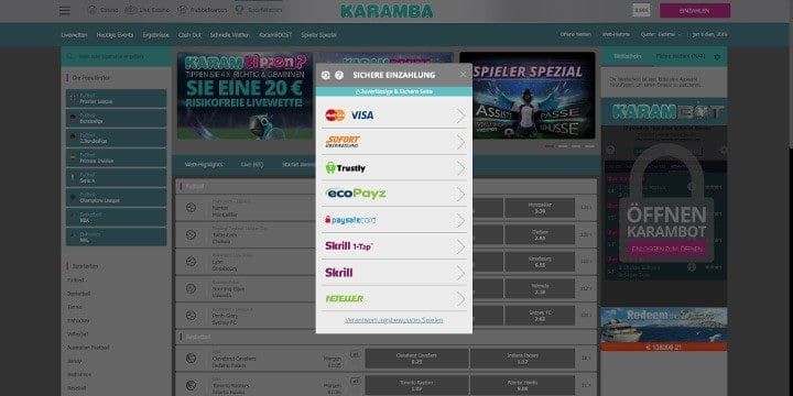Karamba Sportwetten Einzahlungen
