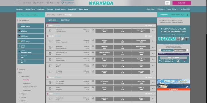 Karamba Sportwetten Fussball Wetten