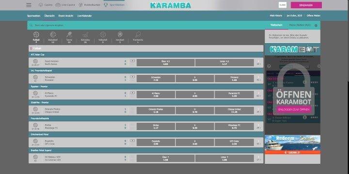 Karamba Sportwetten Live Wetten