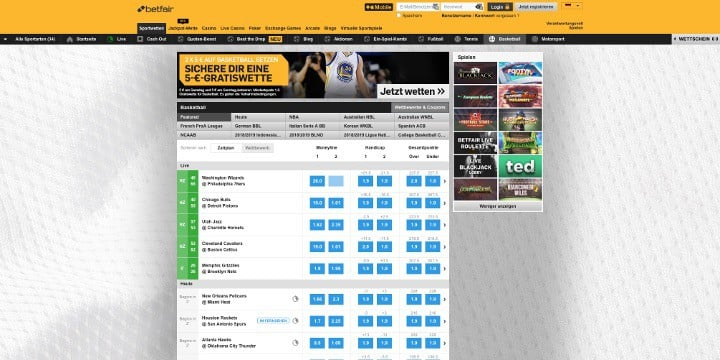 Betfair Basketball Wetten