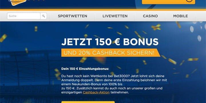 Bet3000 Bonus und Cashback