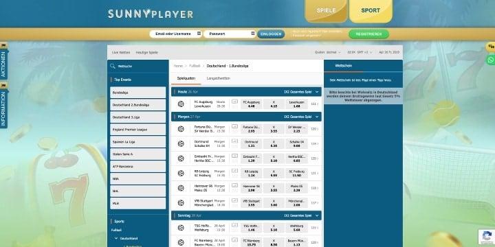 Sunnyplayer Sportwetten Bundesliga Wetten