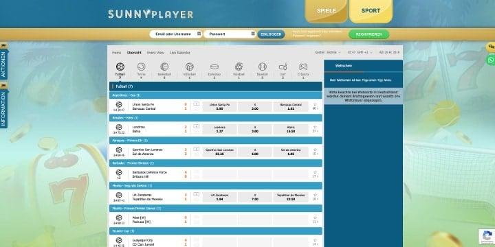 Sunnyplayer Sportwetten Live Wetten
