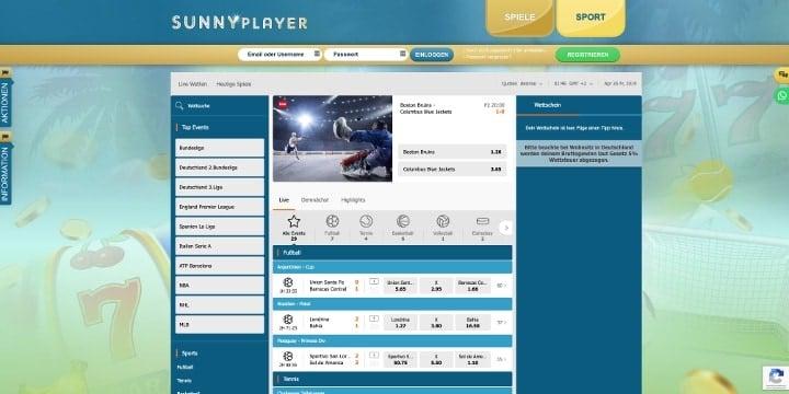 Sunnyplayer Sportwetten