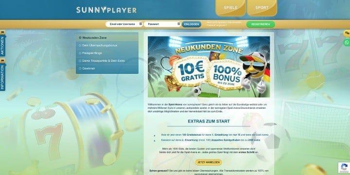 Sunnyplayer Sportwetten Willkommensbonus