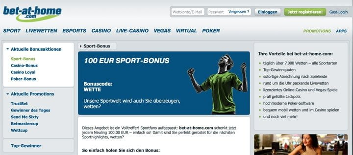 Bet at Home exklusiv Bonus