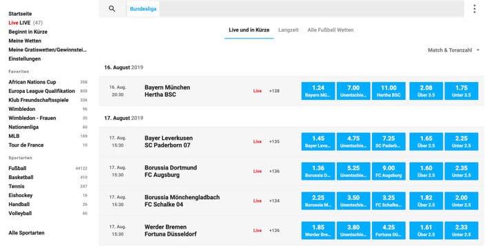 Wunderino Bundesliga Wetten