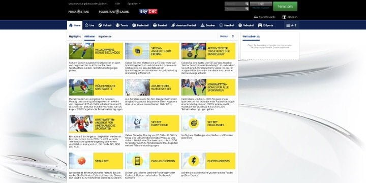 SkyBet Aktionen