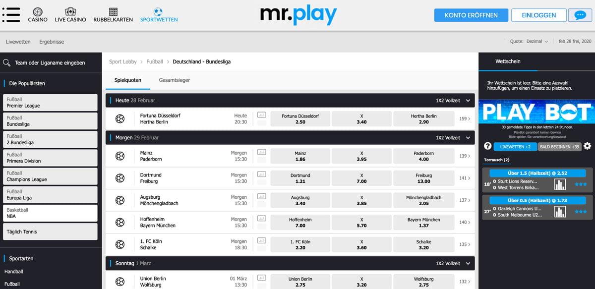 Mr. Play Bundesliga Wetten