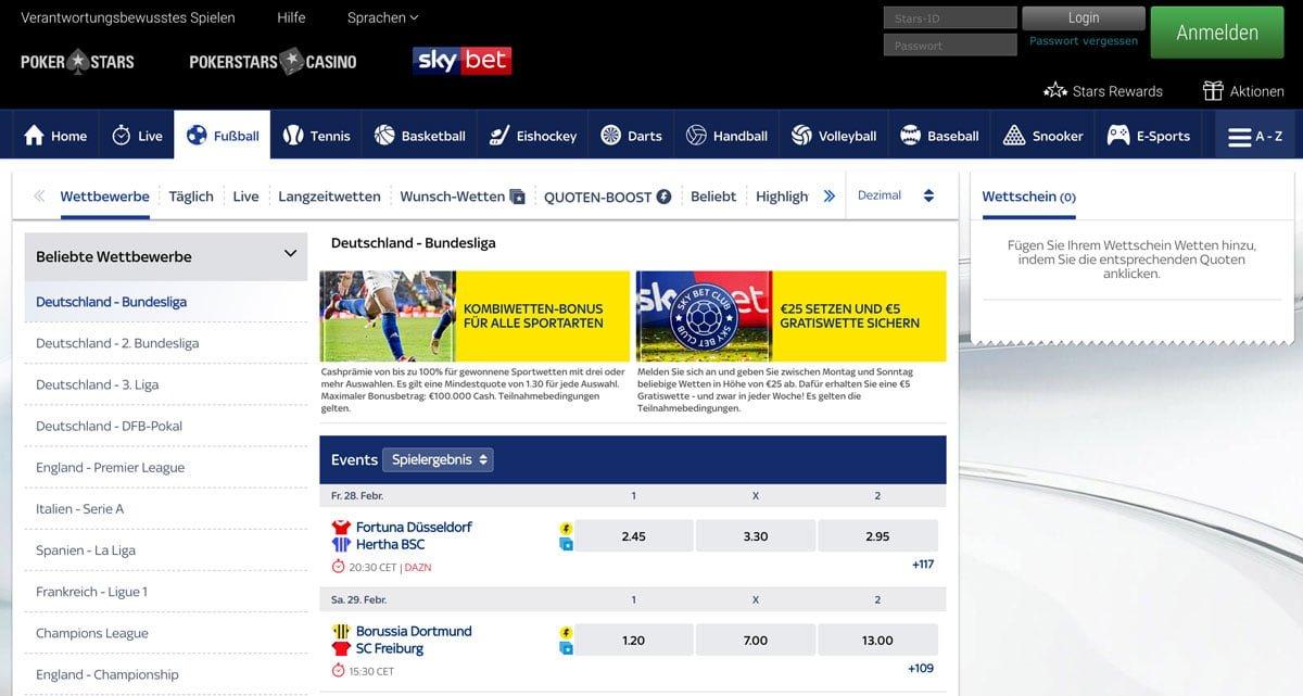 Skybet Bundesliga Wetten