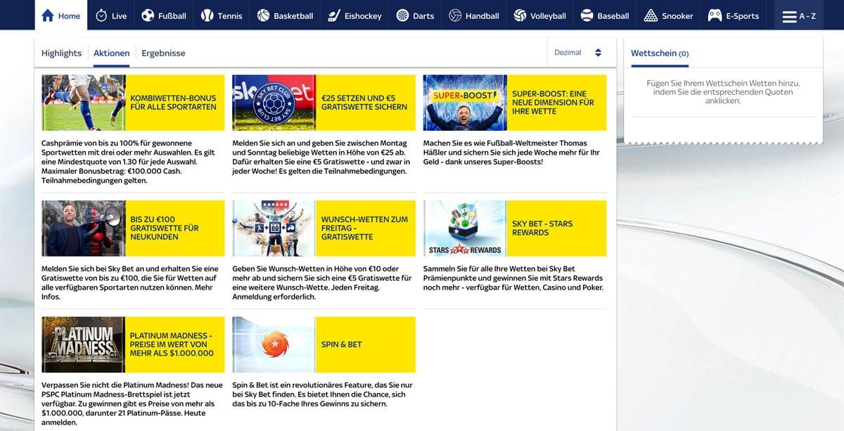 Skybet Sportwetten Bonus Aktionen