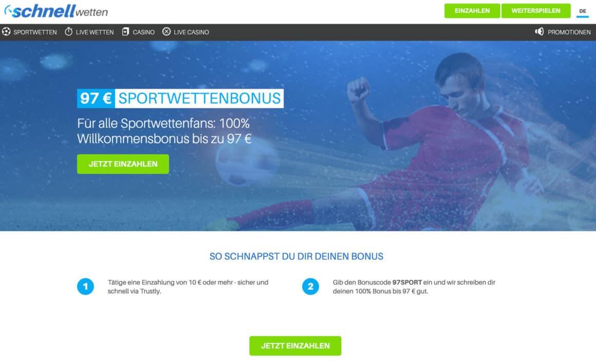 Schnellwetten Sportwetten Bonus