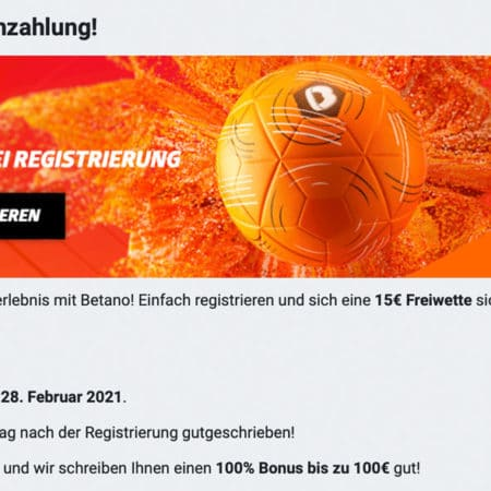 15€ gratis Sportwetten Bonus bei Betano