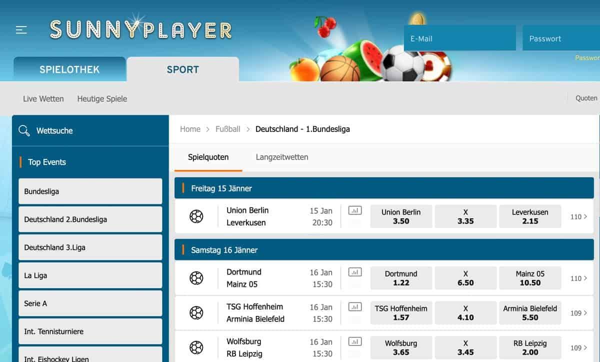 Sunnyplayer Bundesliga Wetten