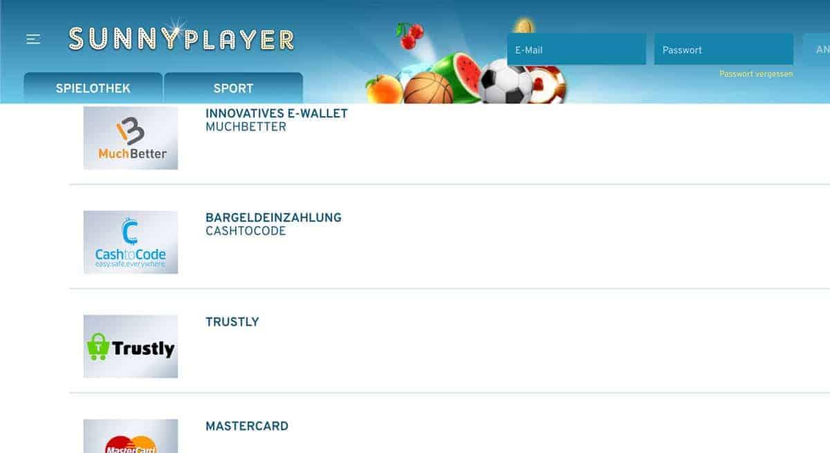Sunnyplayer Zahlungen