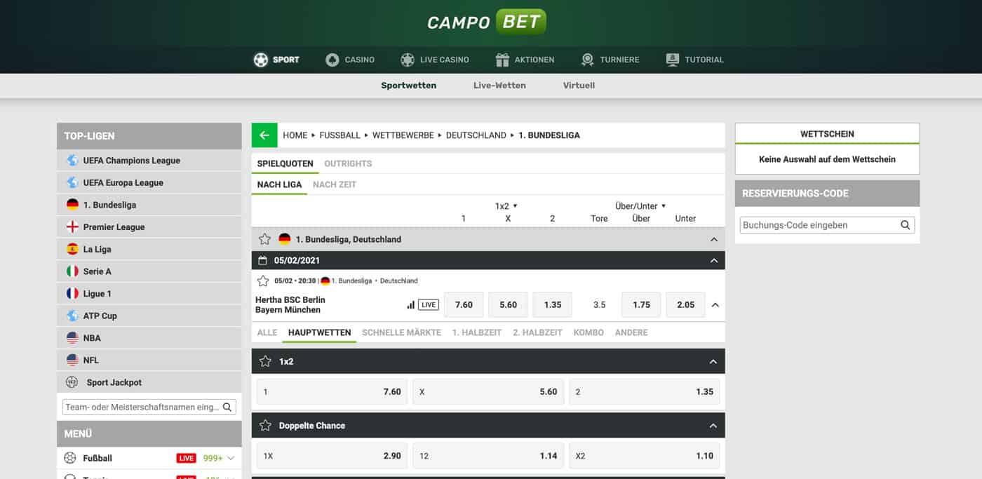 Campobet Bundesliga Wetten