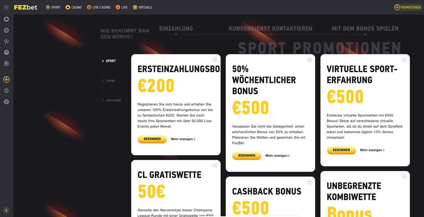 FEZbet Sportwetten Bonus Aktionen