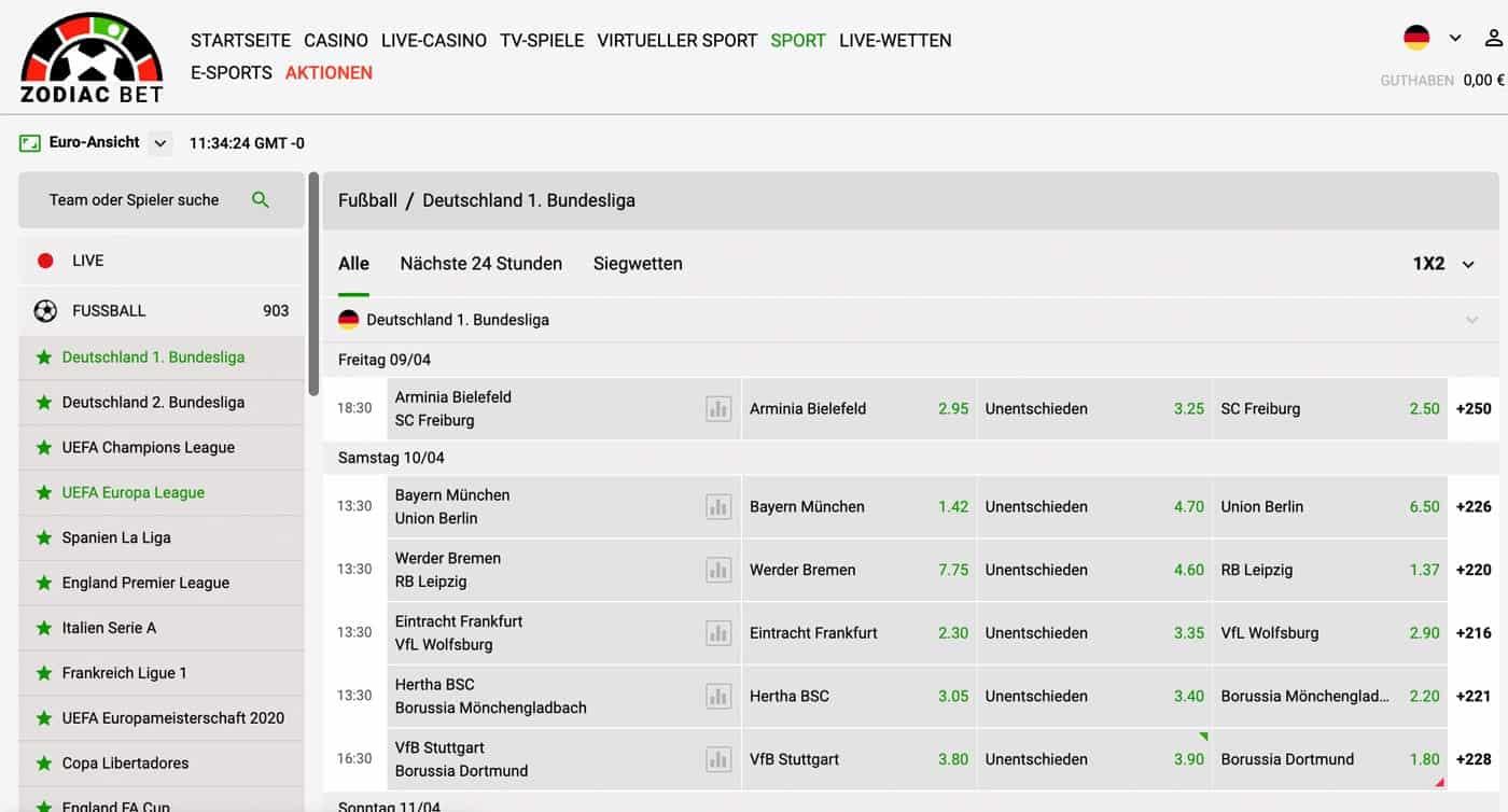 Zodiac Bet Bundesliga Sportwetten