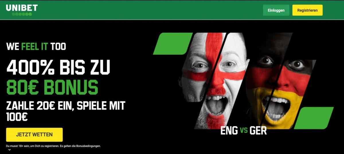 England - Deutschland Wetten und Bonus