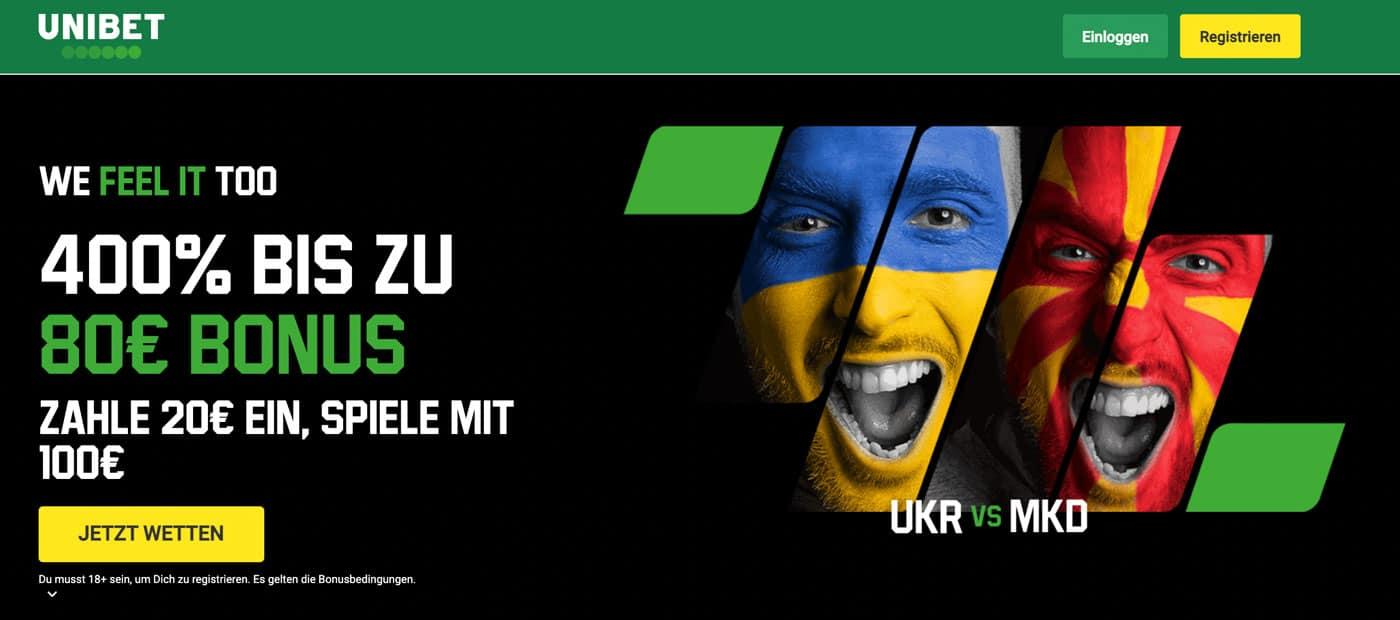 Ukraine - Nordmazedonien Wetten Bonus Quoten