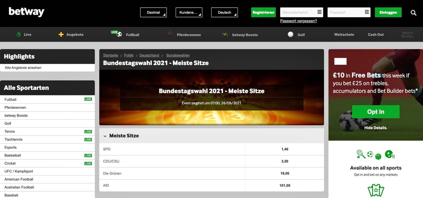 Betway Bundestagswahl Wette