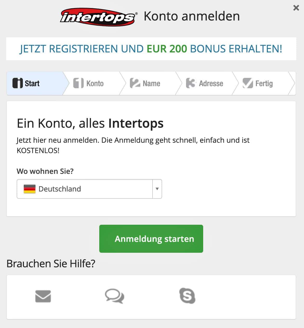 Intertops Registrierung